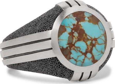 David Yurman Sterling Silver Turquoise Signet Ring