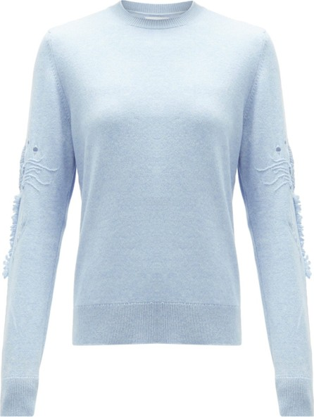 Barrie Embroidered-sleeve cashmere sweater