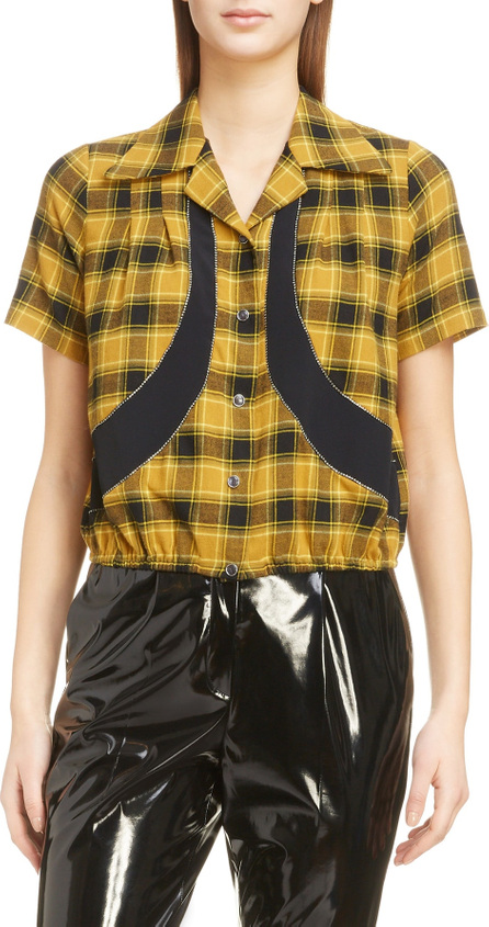 N°21 Nº21 Crystal Panel Plaid Silk Shirt