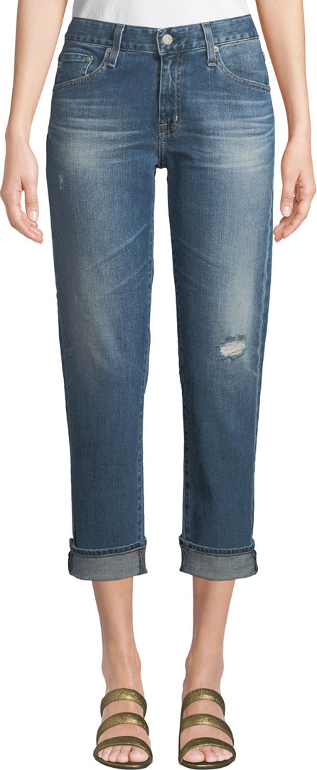 AG Jeans Ex-Boyfriend Mid-Rise Slim Crop Distressed Jeans