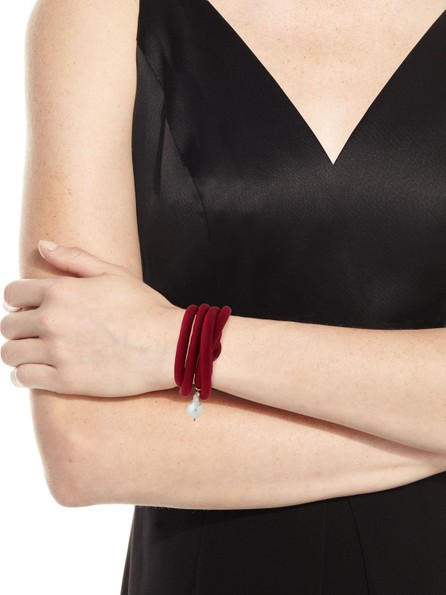 Grazia And Marica Vozza Woven Silk Bracelet with Pearl Charm