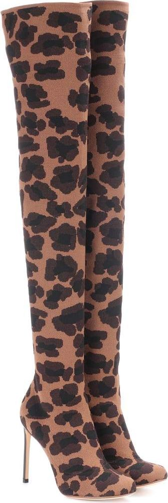 Francesco Russo - Leopard-printed over-the-knee boots