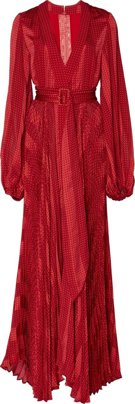 Alexis Salomo Deep-V Geo-Print Silk Maxi Dress