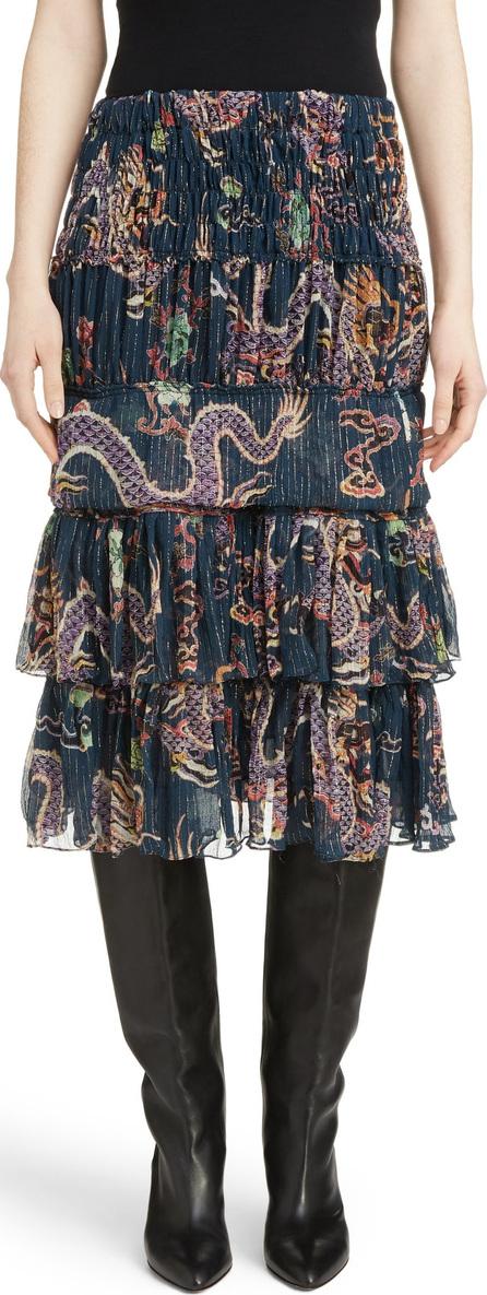 Isabel Marant Zuki Tiered Dragon Print Silk Blend Skirt