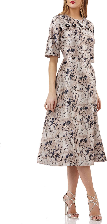 Kay Unger Jacquard Dolman-Sleeve Dress in Beige - mkt
