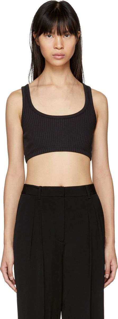 T By Alexander Wang Black Stretch Rib Bra Top