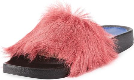 Stuart Weitzman Delano Fluffy Fur Flat Slide Sandal