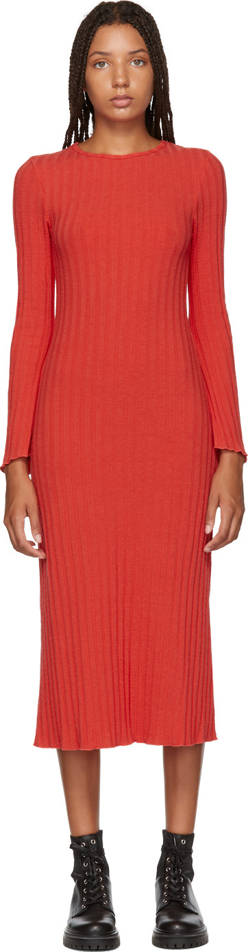Simon Miller Red Stretch Wide Rib Wells Dress