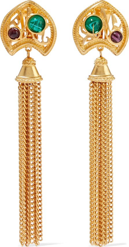 Ben-Amun 24-karat gold-plated stone tassel clip earrings