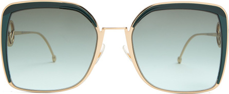 Fendi Square-frame metal sunglasses