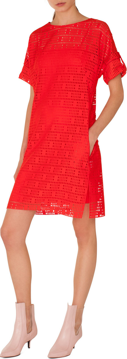 Akris Punto Boat-Neck Elbow-Sleeve Lace Dress with Pockets
