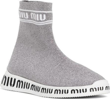 Miu Miu Logo Sock Slip-On Sneaker