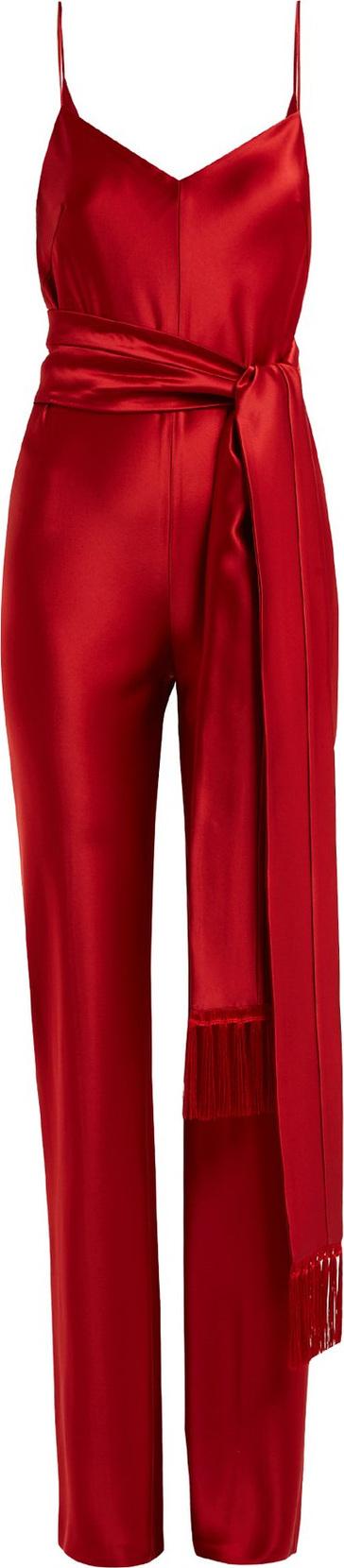 Galvan Cuzco tassel-embellished wide-leg satin jumpsuit
