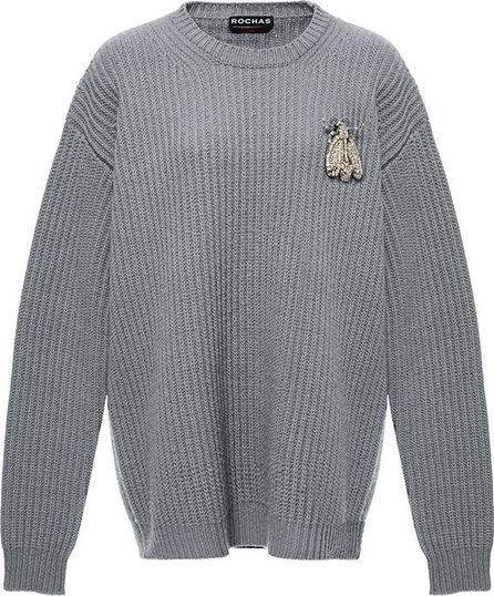 ROCHAS Bee-Brooch Oversized Wool Sweater