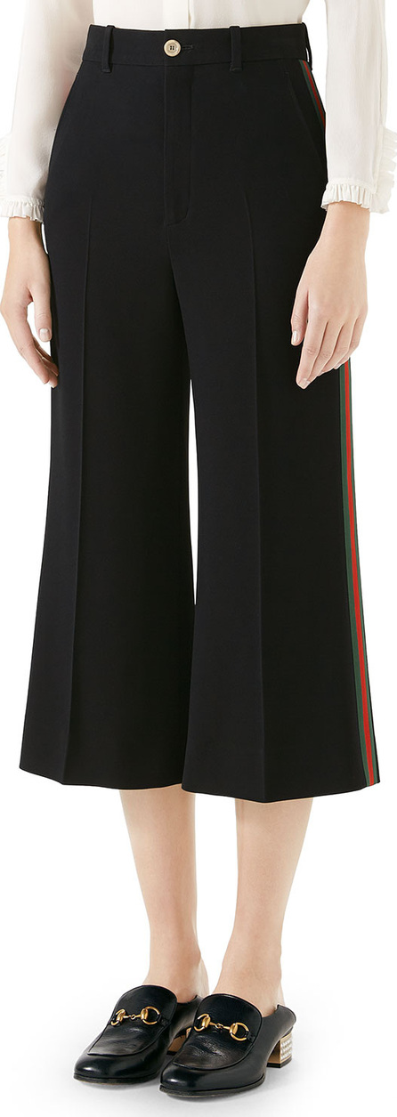Gucci Cropped Culotte Pants w/ Web Stripe