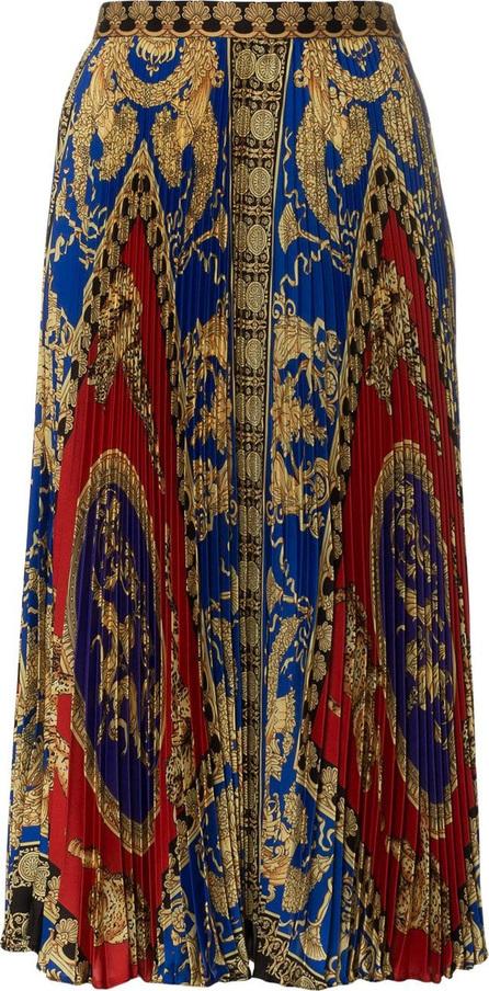 Versace Silk high waist pleat print skirt