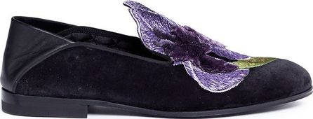 Alexander McQueen Iris embroidered velvet step-in loafers