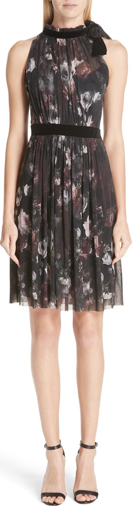 Fuzzi Floral Print Tulle Halter Dress