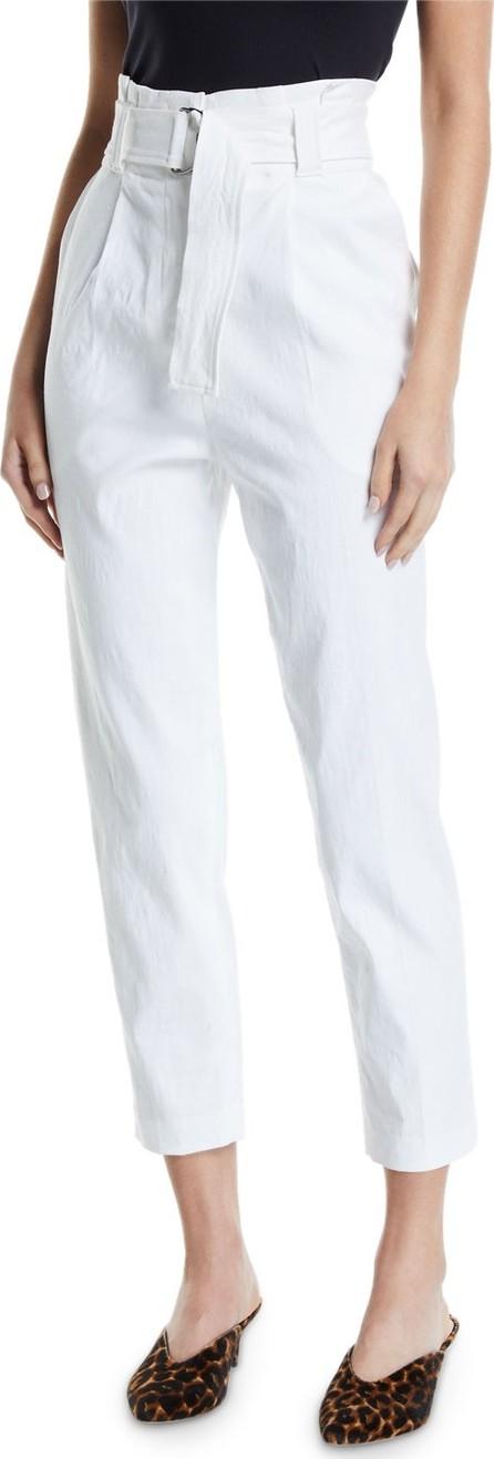 A.L.C. Diego High-Waist Belted Linen-Stretch Pants