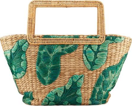 Aranaz Cherine Embroidered Raffia Top-Handle Bag