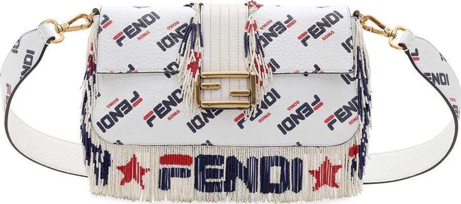 723ca74fd8b2 Fendi Baguette Fendi Mania Beaded Fringe Shoulder Bag in White - Mkt