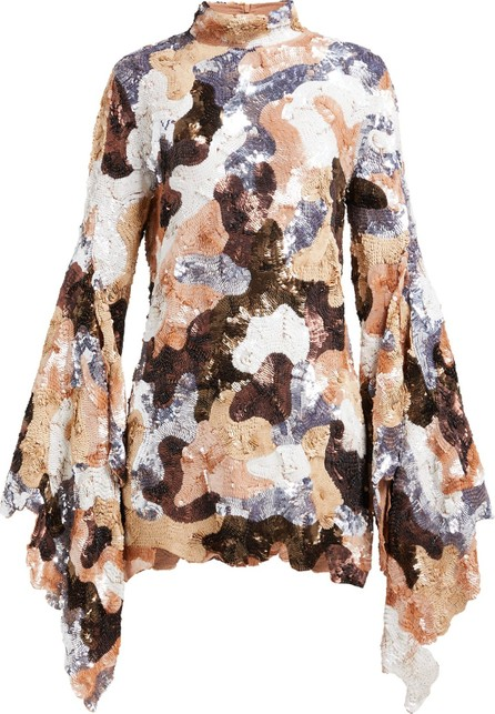 ASHISH Camouflage sequinned flared-sleeve mini dress