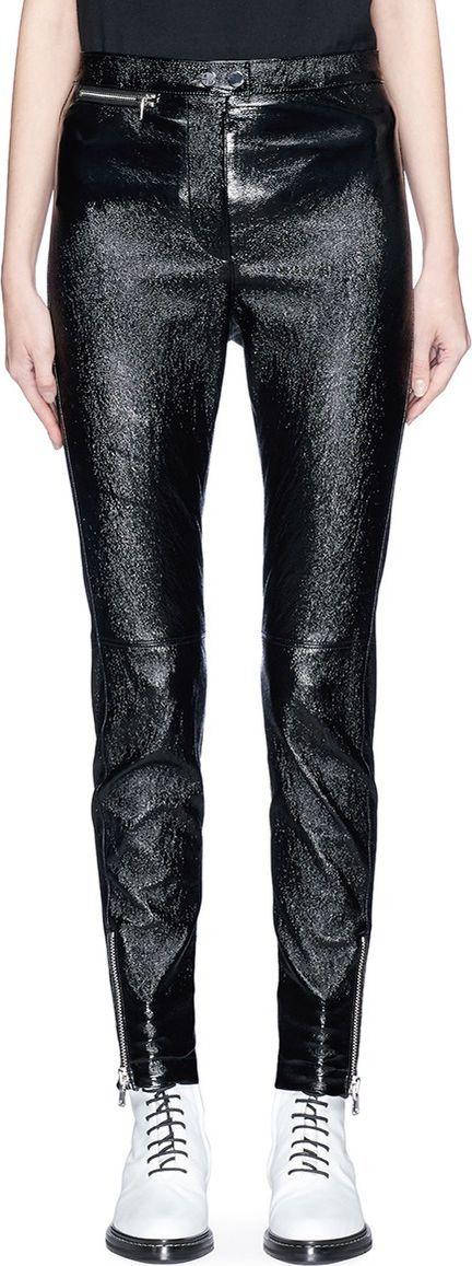 3.1 Phillip Lim Zip cuff metallic leather cropped leggings