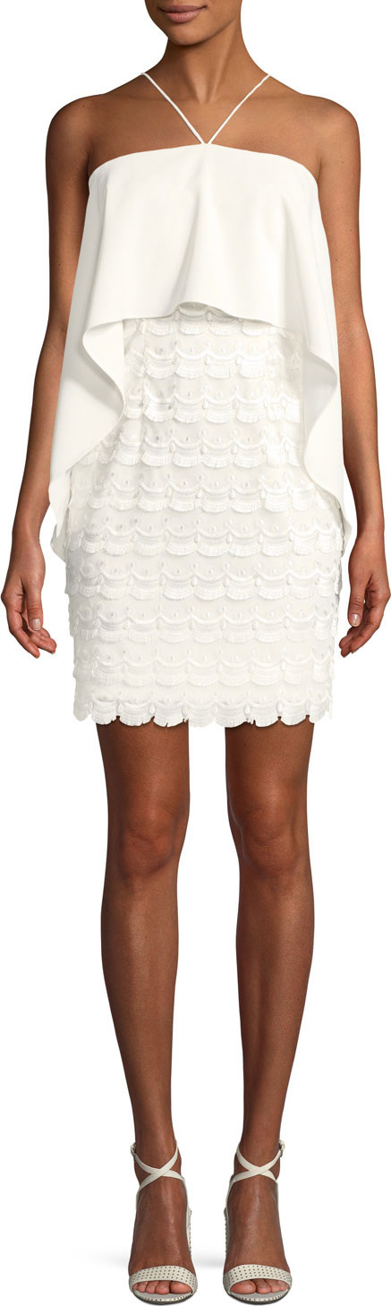 Aidan by Aidan Mattox Embroidered Popover Halter Dress