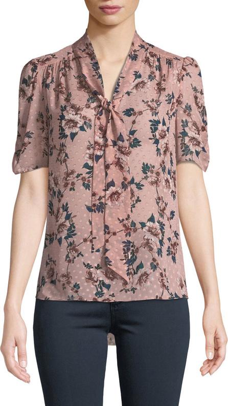 Kate Spade New York prairie rose-print tie-neck dotted silk top