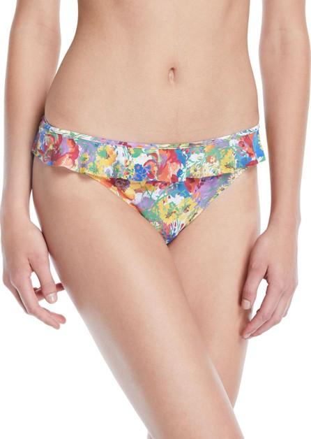 Stella McCartney Iconic Printed Ruffle Hipster Bikini Bottoms
