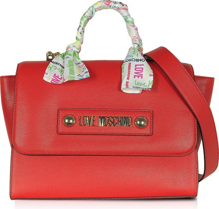 Love Moschino Red Eco-Leather Satchel w/Signature Scarf
