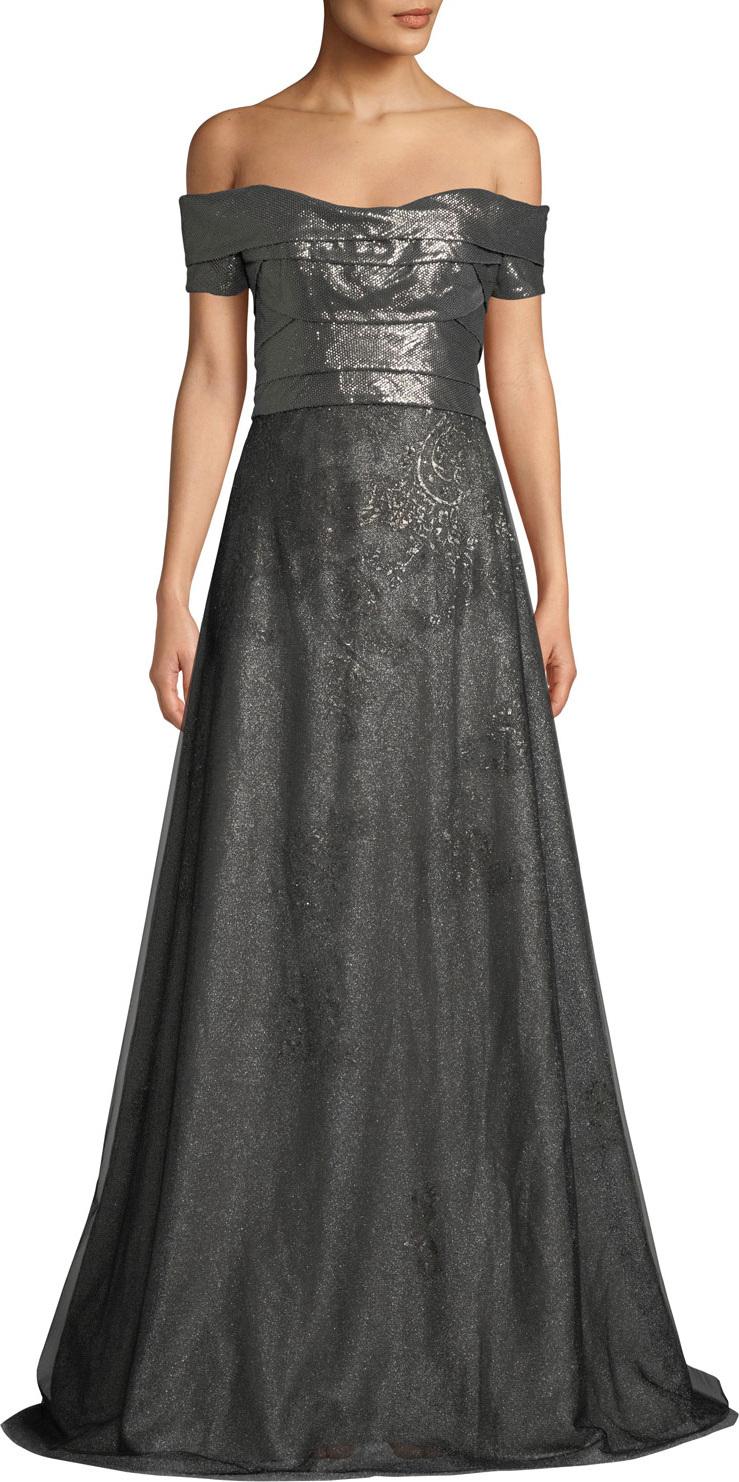 RENE RUIZ Metallic Off-the-Shoulder Ball Gown in Grey - mkt