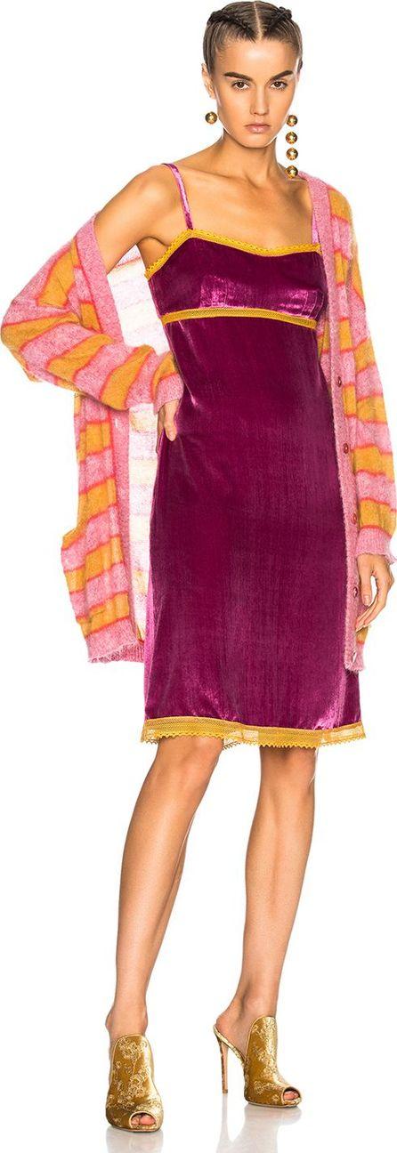 Alberta Ferretti Lace Trim Velvet Slip Dress
