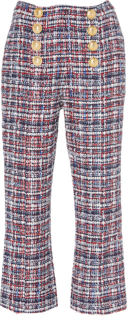 Balmain Button-Detailed High-Waisted Cropped Tweed Pants