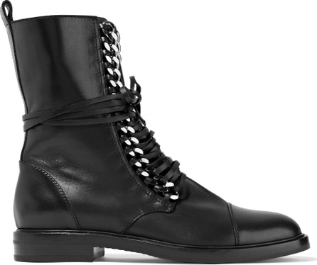 Casadei Chain-trimmed lace-up leather boots