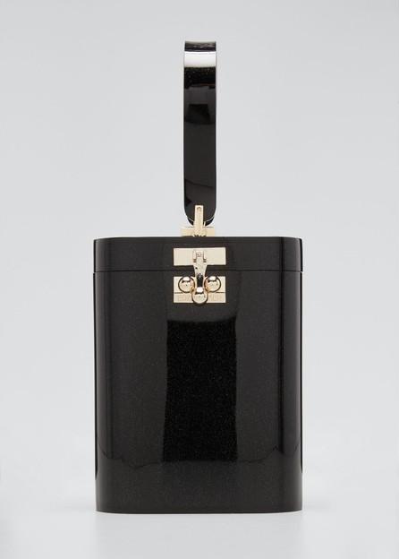 Edie Parker Oval Glitter Minaudiere Bag