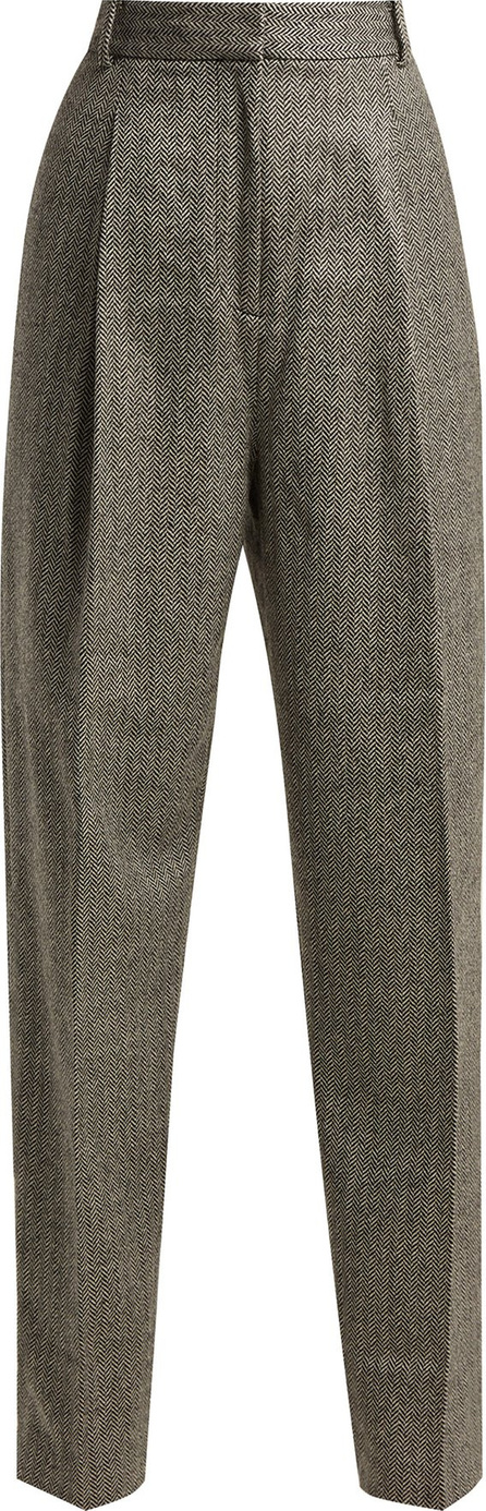 Tibi High-rise herringbone wool-blend trousers