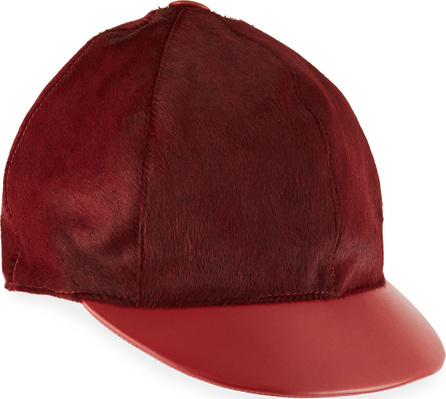 Marzi Calf Hair & Leather Baseball Hat
