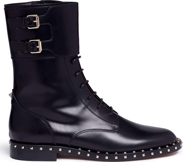 440dfc46ef3 Valentino 'Rockstud' trim leather combat boots - Mkt