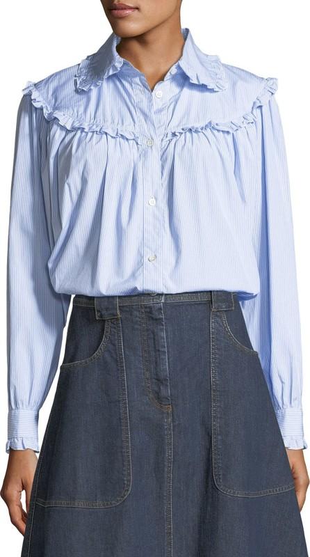 Alexa Chung Frill-Trim Button-Front Oversized Denim Shirt