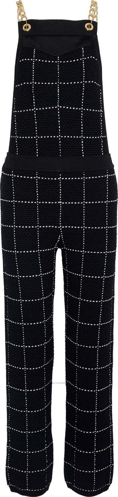 Balmain Chain-embellished checked bouclé-knit overalls