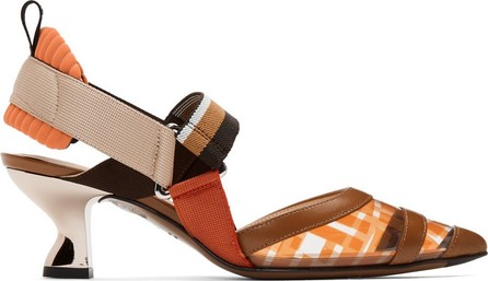 Fendi Brown & Orange PVC Colibrì Slingback Heels