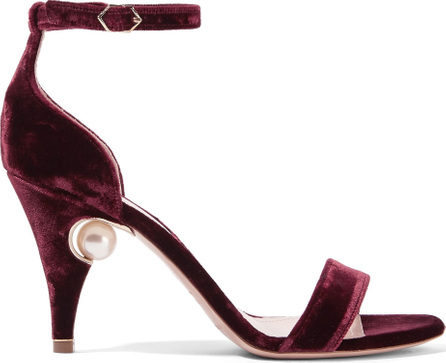 Nicholas Kirkwood Penelope faux pearl-embellished velvet sandals