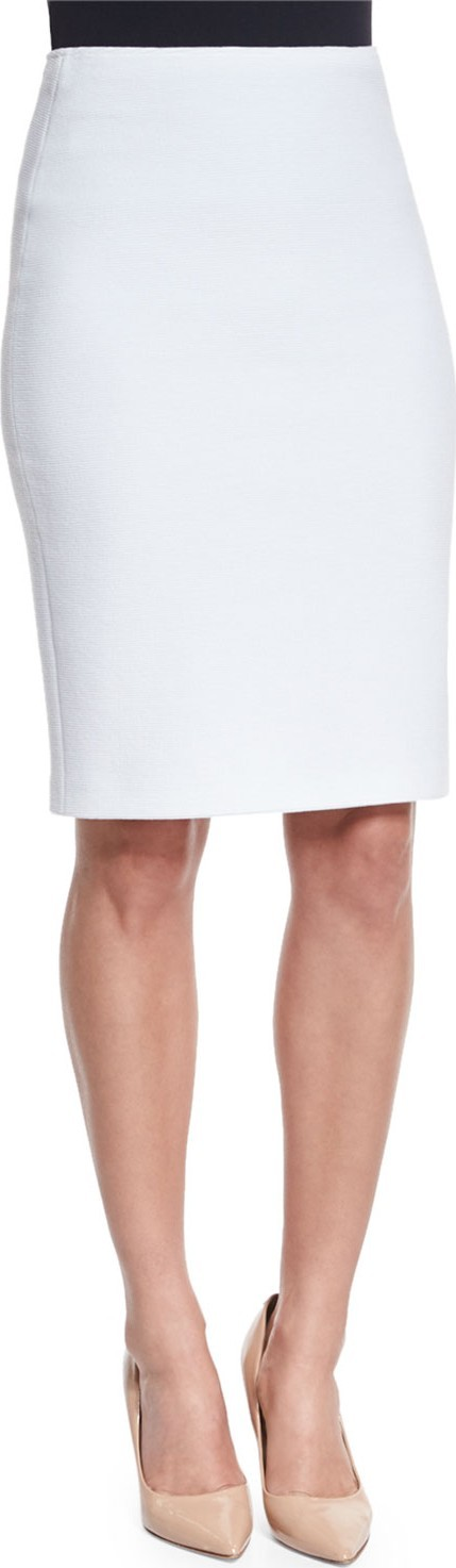 Armani Collezioni Ribbed Jersey Knit Pencil Skirt, Off White