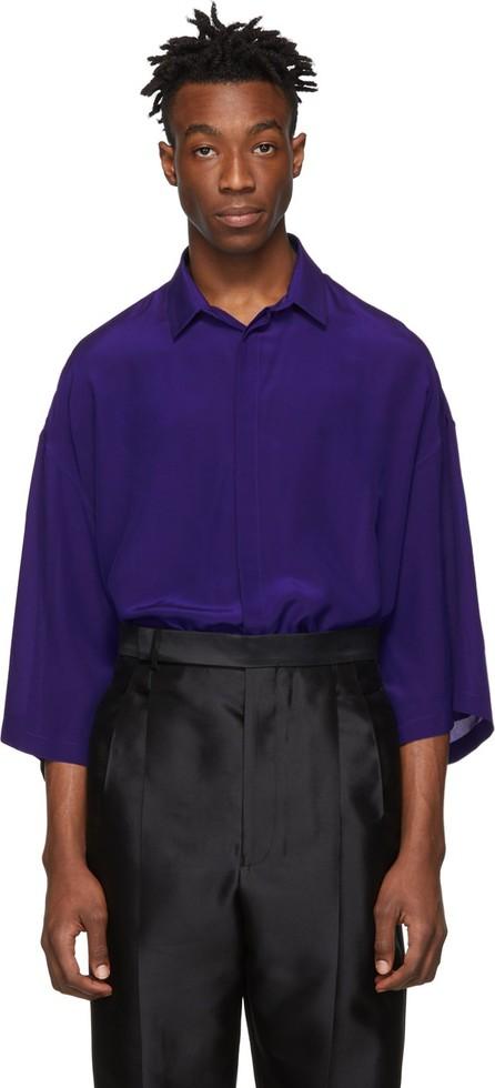 Haider Ackermann Blue Silk Short Sleeve Shirt