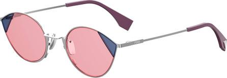 Fendi Round Two-Tone Metal Sunglasses