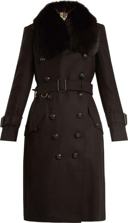 Burberry London England Fur-trimmed  belted wool-blend coat