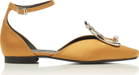 Yuul Yie Buckle-Detailed Embellished Satin Flats