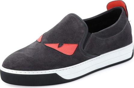 Fendi Men's Monster Slip-On Sneakers, Black