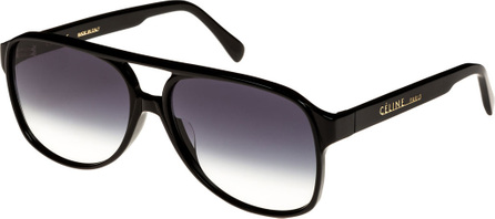 Celine Mirrored Acetate Aviator Sunglasses, Black